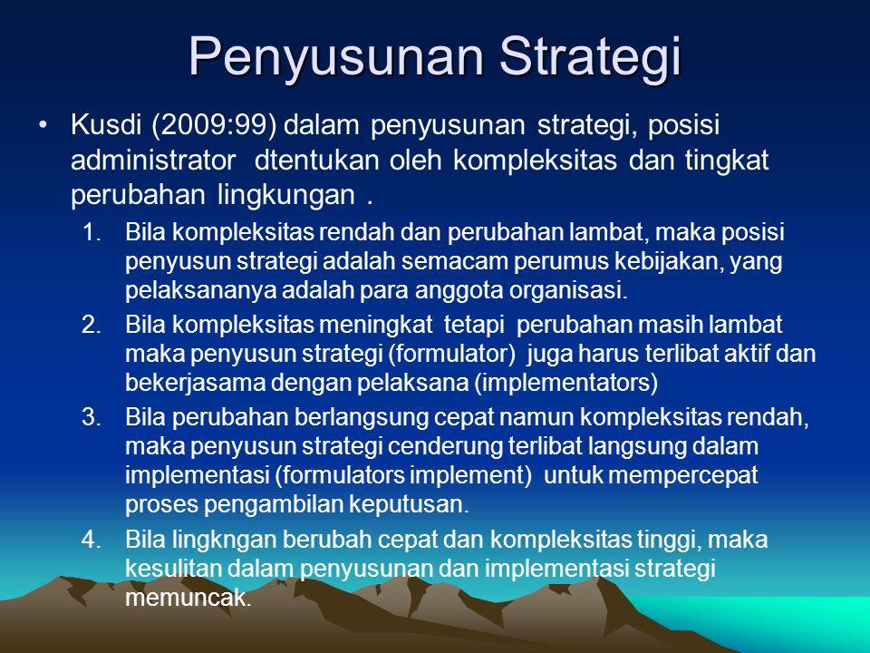 Penyusunan Strategi Kusdi (2009:99) dalam penyusunan strategi, posisi administrator dtentukan oleh kompleksitas dan tingkat perubahan lingkungan .