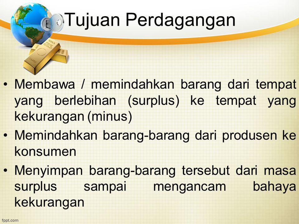 Tujuan Perdagangan Membawa / memindahkan barang dari tempat yang berlebihan (surplus) ke tempat yang kekurangan (minus)
