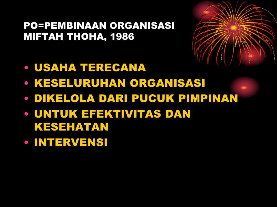 PO=PEMBINAAN ORGANISASI MIFTAH THOHA, 1986