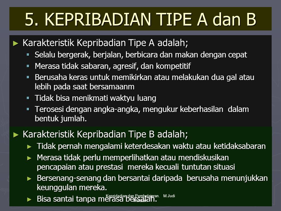 5. KEPRIBADIAN TIPE A dan B