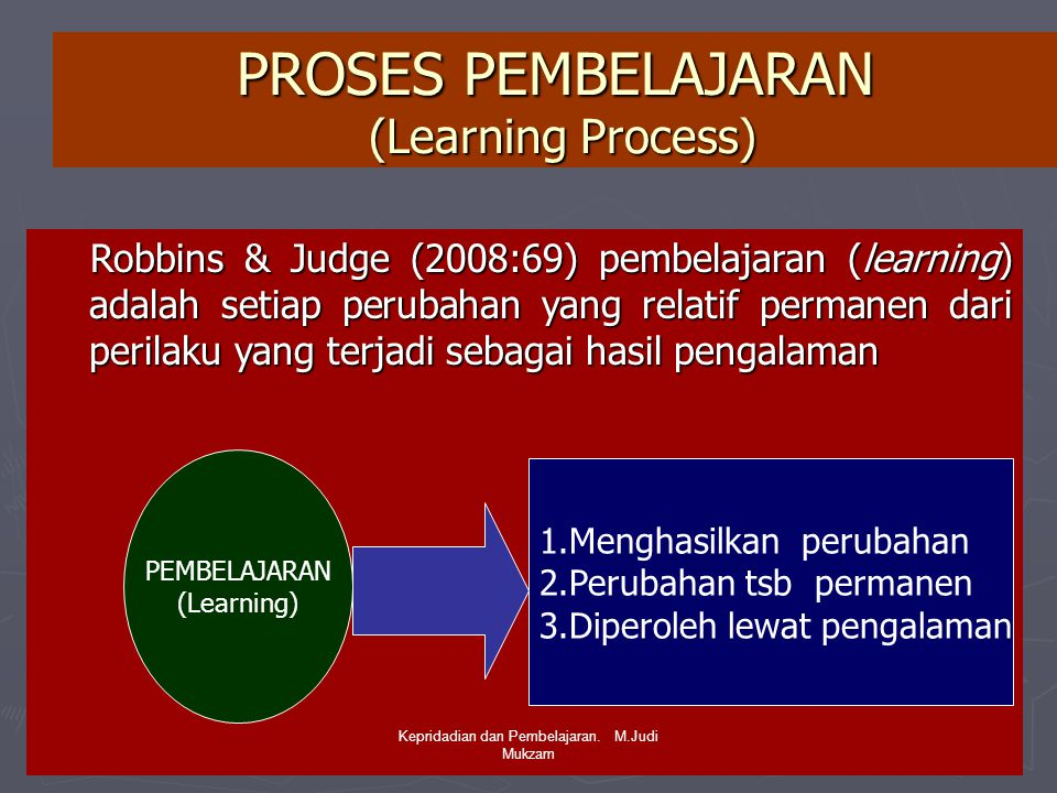 PROSES PEMBELAJARAN (Learning Process)