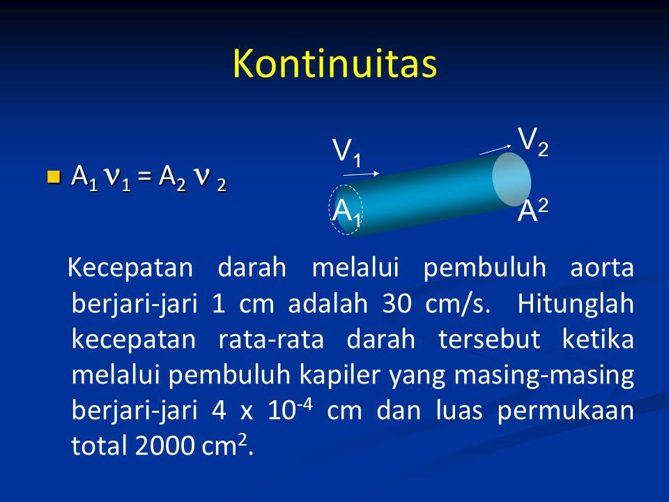Kontinuitas V2 V1 A1 1 = A2  2 A2 A1