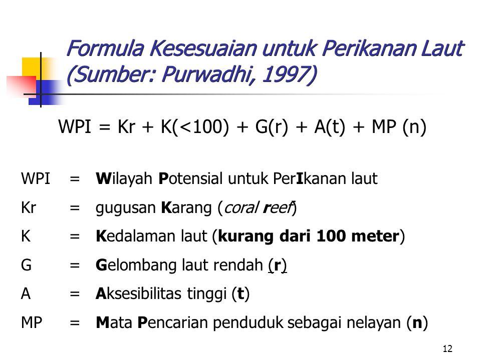 Formula Kesesuaian untuk Perikanan Laut (Sumber: Purwadhi, 1997)