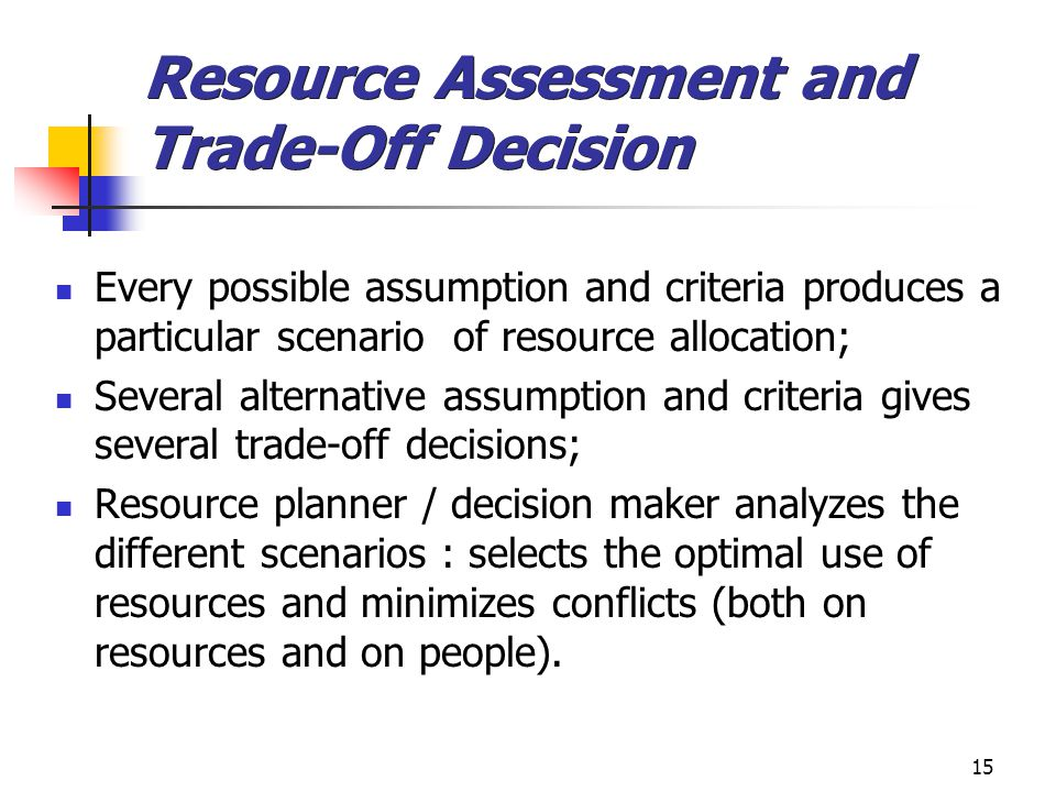 Resource Assessment and Trade-Off Decision