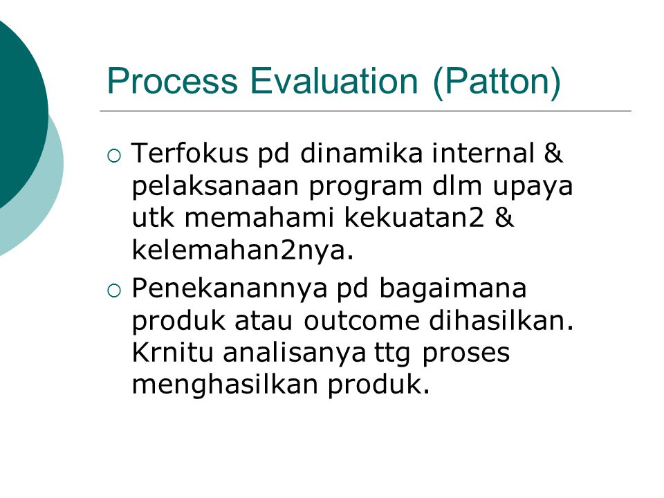 Process Evaluation (Patton)