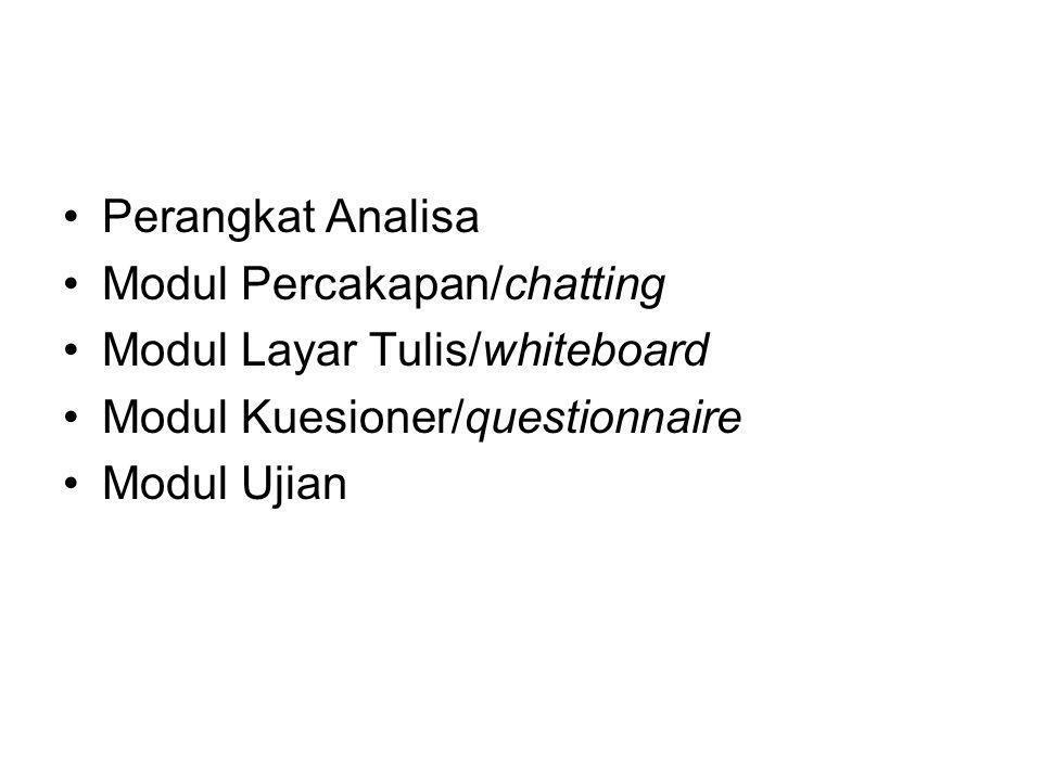 Perangkat Analisa Modul Percakapan/chatting. Modul Layar Tulis/whiteboard. Modul Kuesioner/questionnaire.
