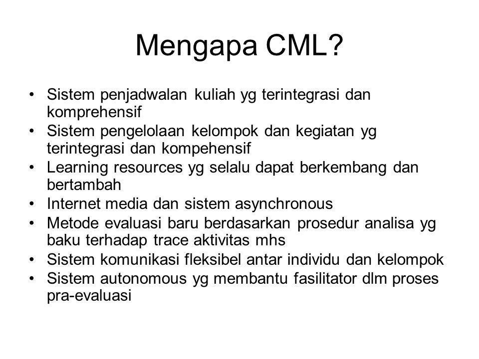 Mengapa CML Sistem penjadwalan kuliah yg terintegrasi dan komprehensif. Sistem pengelolaan kelompok dan kegiatan yg terintegrasi dan kompehensif.