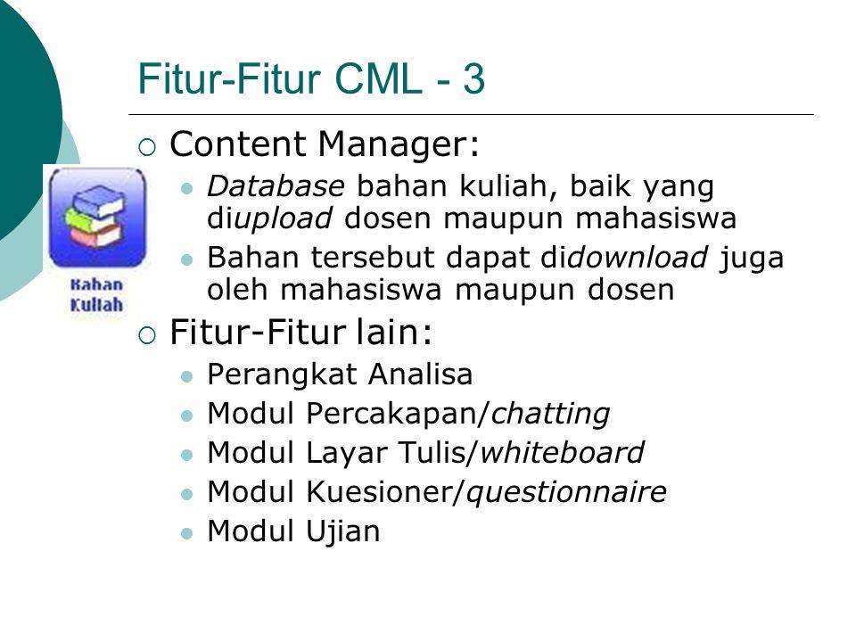 Fitur-Fitur CML - 3 Content Manager: Fitur-Fitur lain: