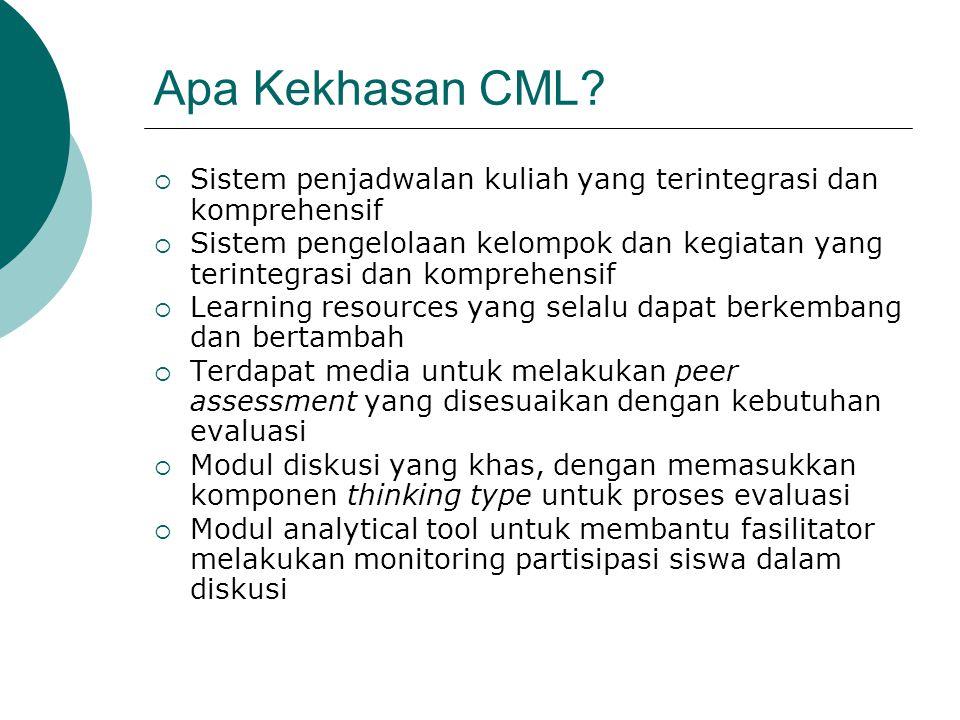 Apa Kekhasan CML Sistem penjadwalan kuliah yang terintegrasi dan komprehensif.