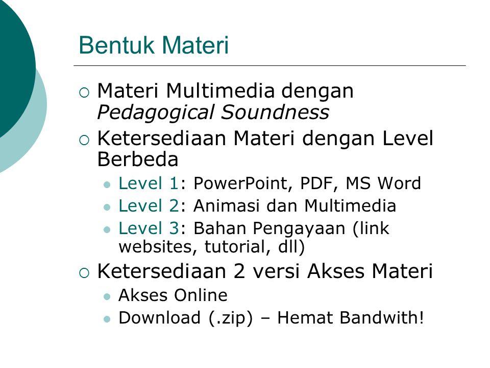 Bentuk Materi Materi Multimedia dengan Pedagogical Soundness