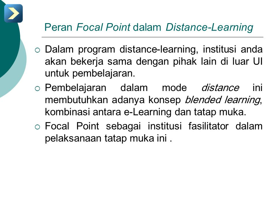 Peran Focal Point dalam Distance-Learning