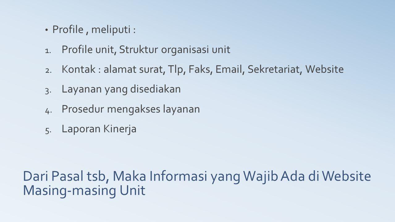 Profile , meliputi : Profile unit, Struktur organisasi unit. Kontak : alamat surat, Tlp, Faks, Email, Sekretariat, Website.