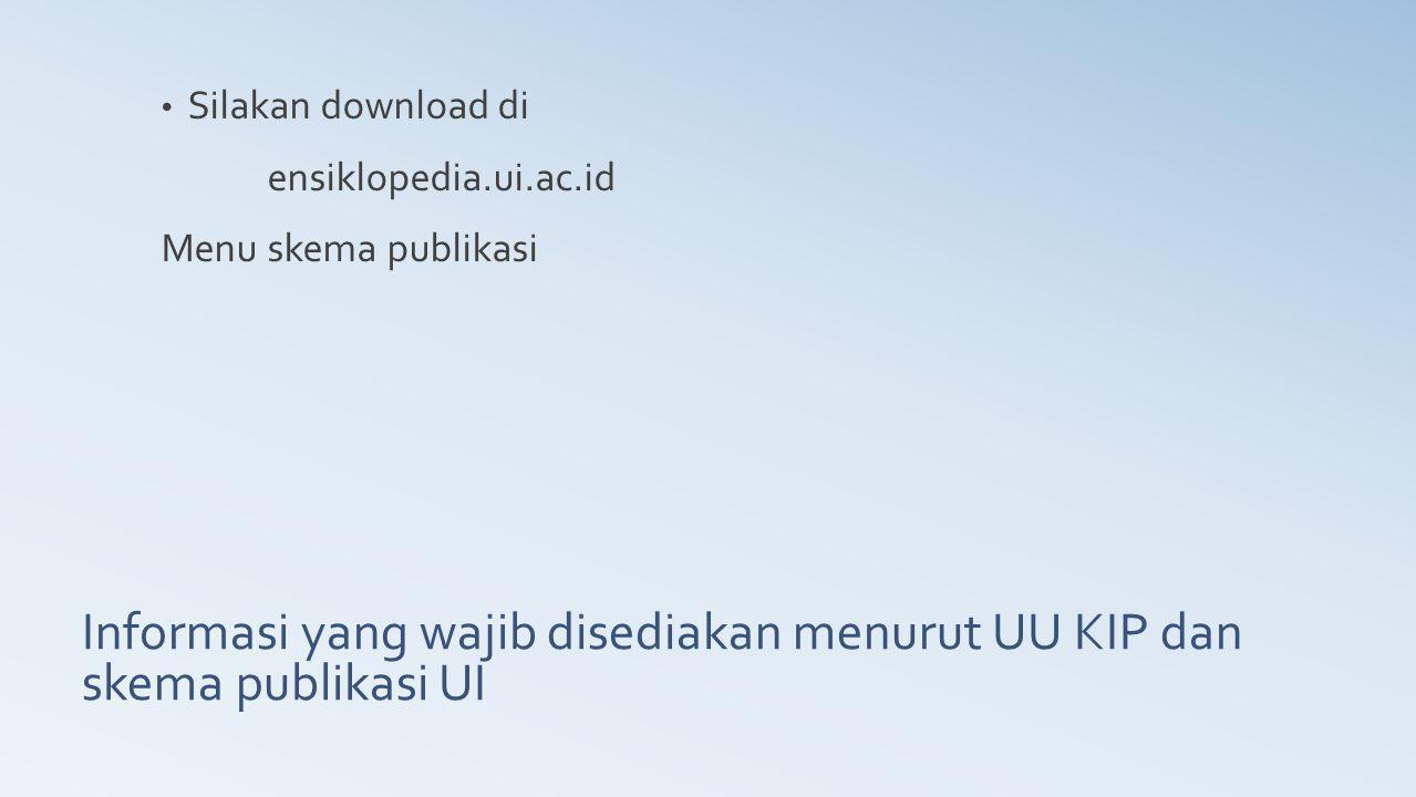 Informasi yang wajib disediakan menurut UU KIP dan skema publikasi UI
