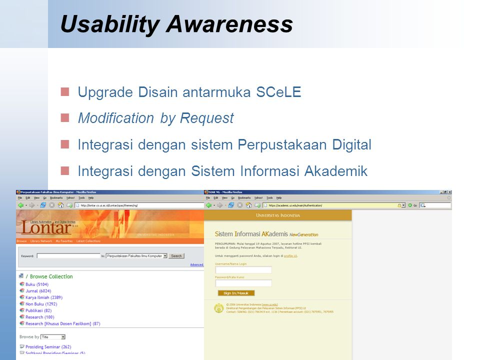 Usability Awareness Upgrade Disain antarmuka SCeLE