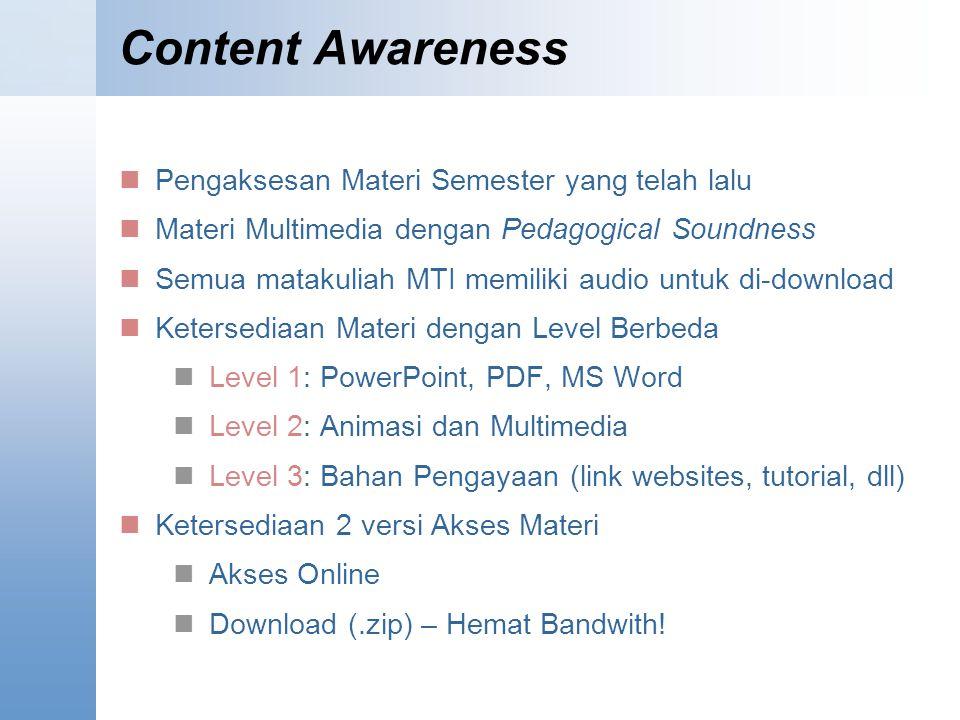 Content Awareness Pengaksesan Materi Semester yang telah lalu
