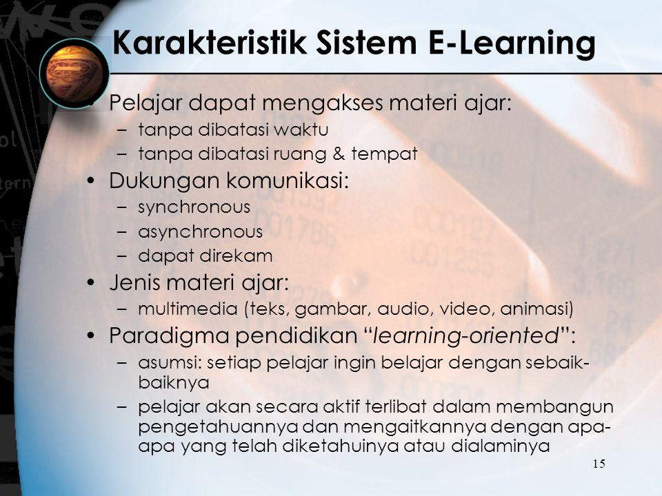 Karakteristik Sistem E-Learning