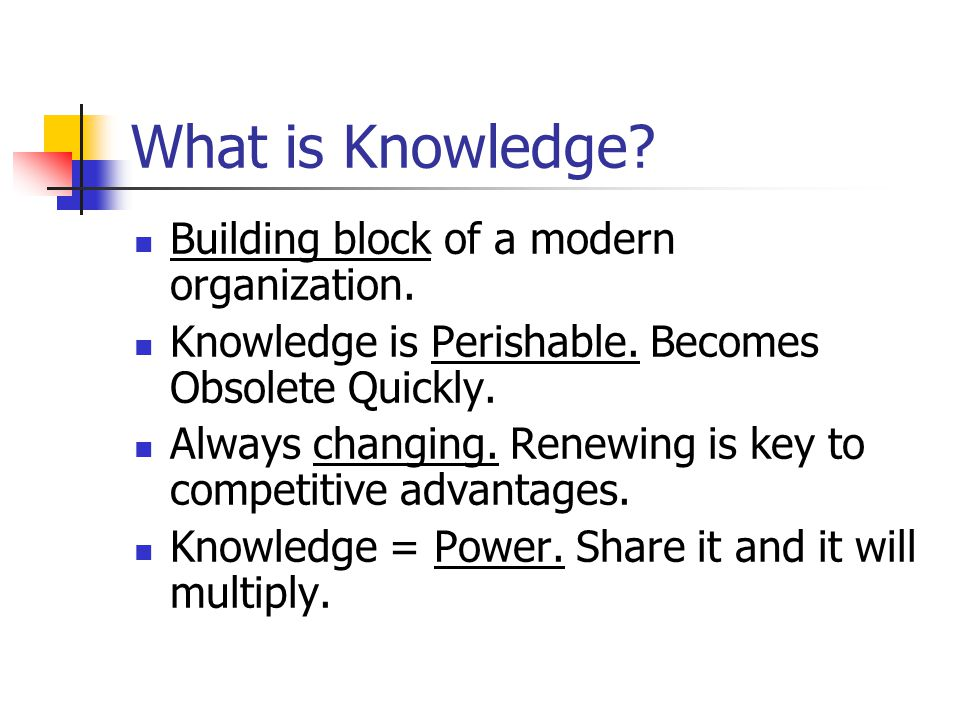 What is Knowledge Building block of a modern organization.