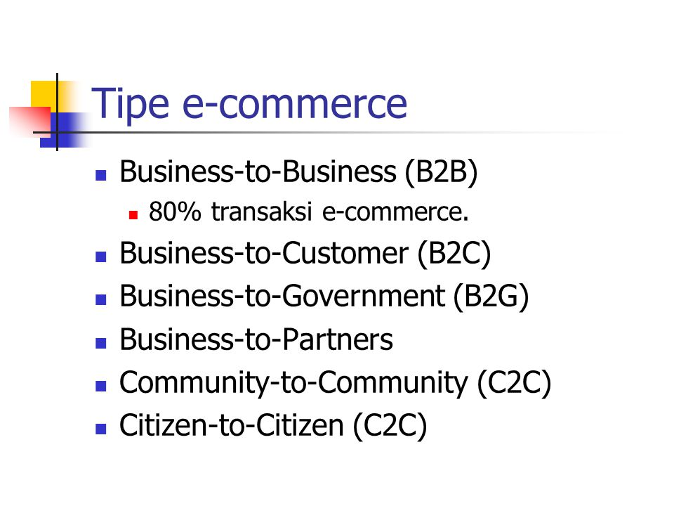 Tipe e-commerce Business-to-Business (B2B) Business-to-Customer (B2C)