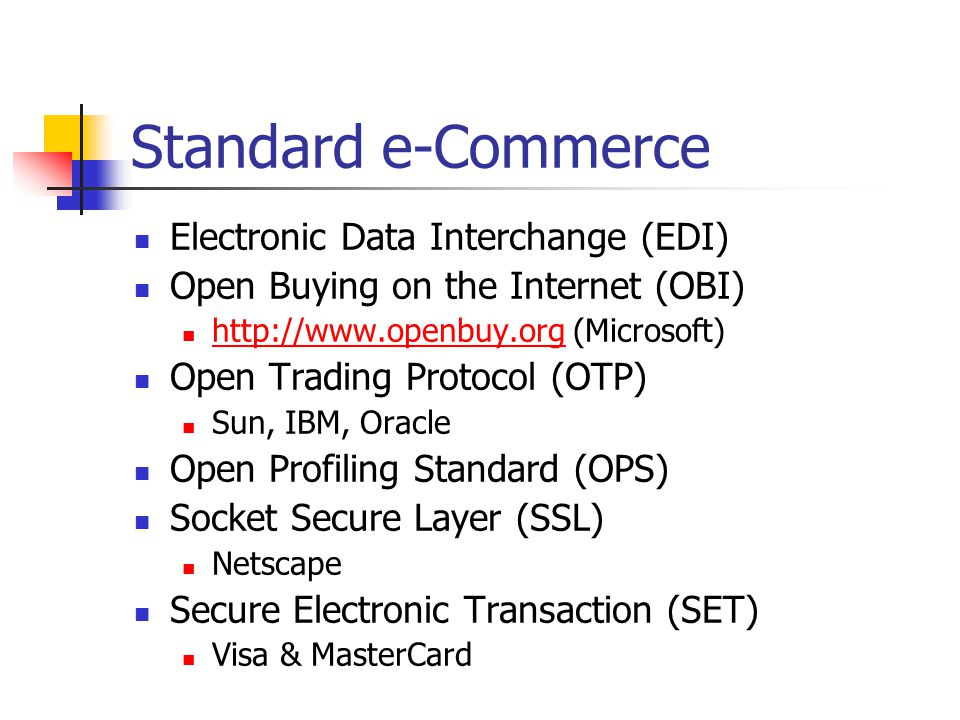 Standard e-Commerce Electronic Data Interchange (EDI)