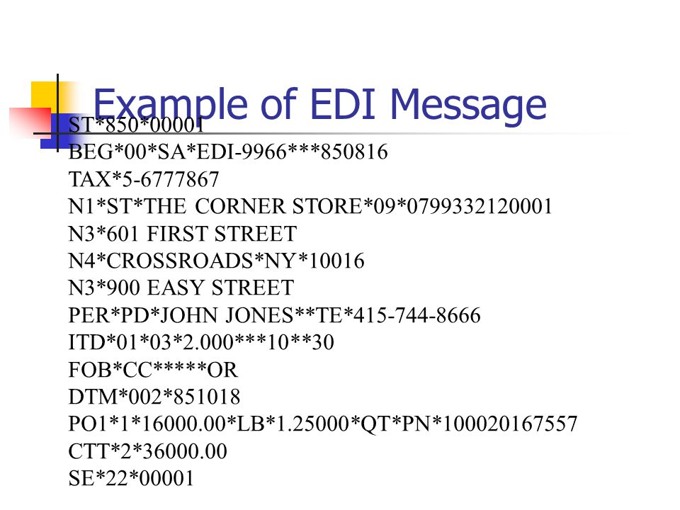 Example of EDI Message ST*850*00001 BEG*00*SA*EDI-9966***850816