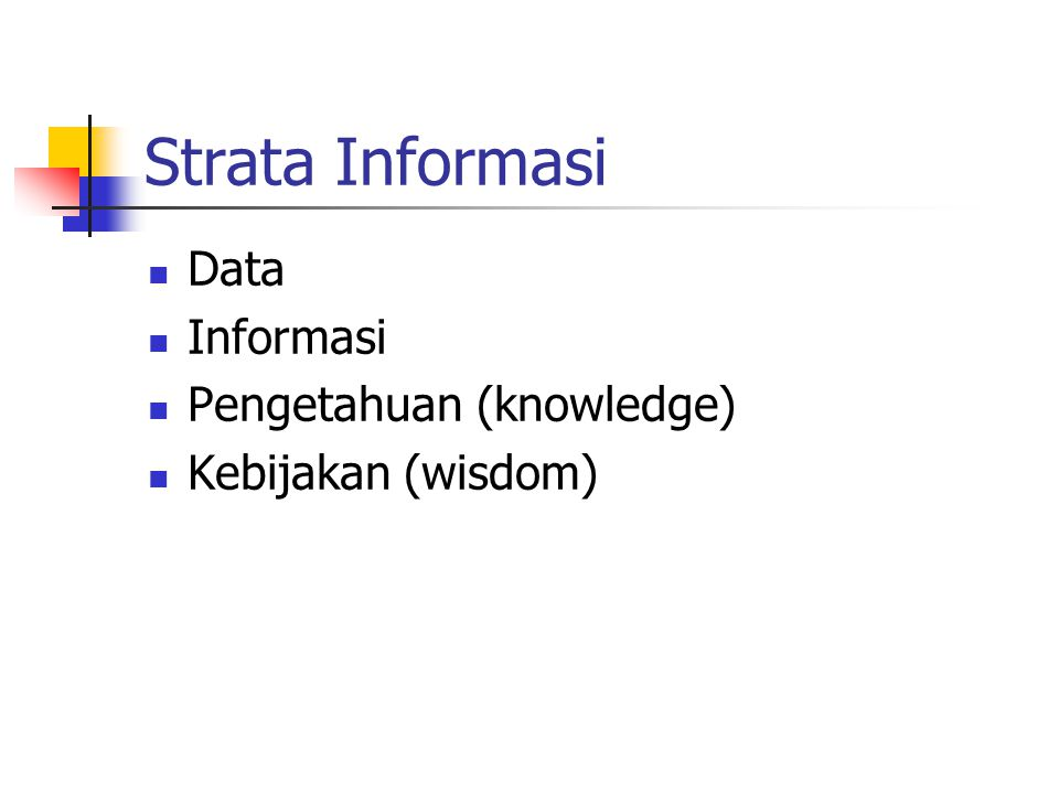 Strata Informasi Data Informasi Pengetahuan (knowledge)