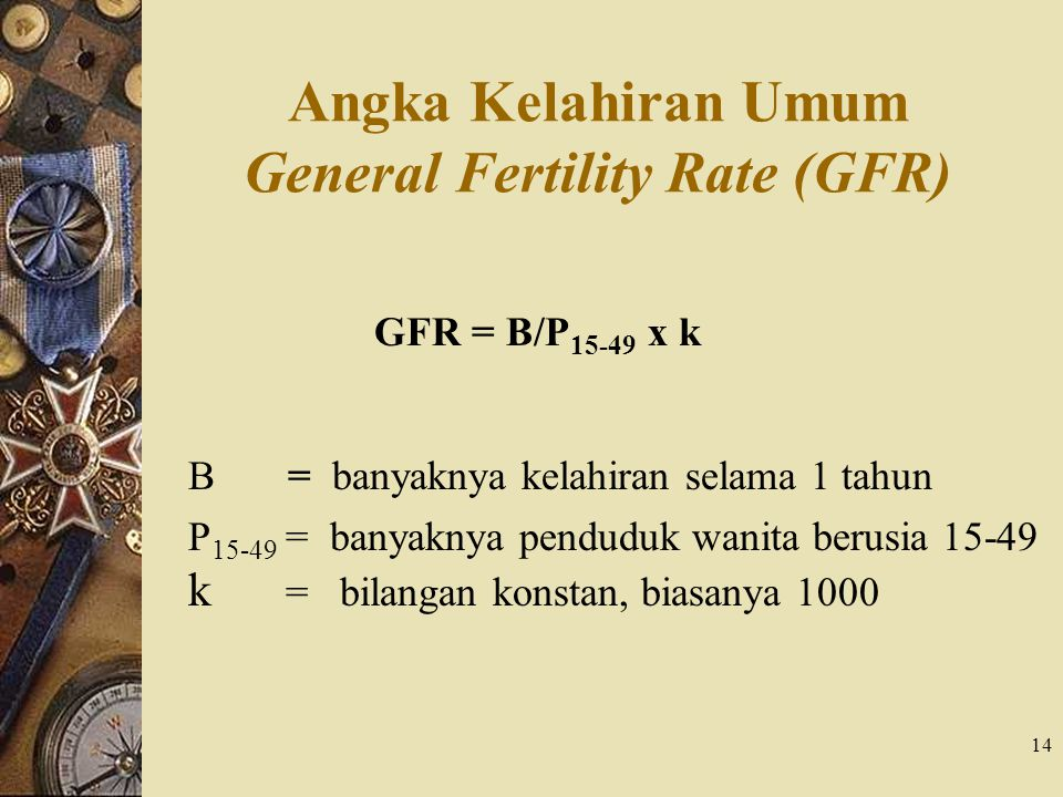 Angka Kelahiran Umum General Fertility Rate (GFR)