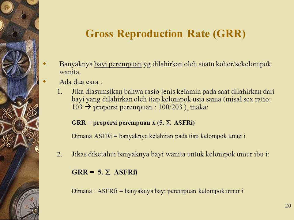 Gross Reproduction Rate (GRR)