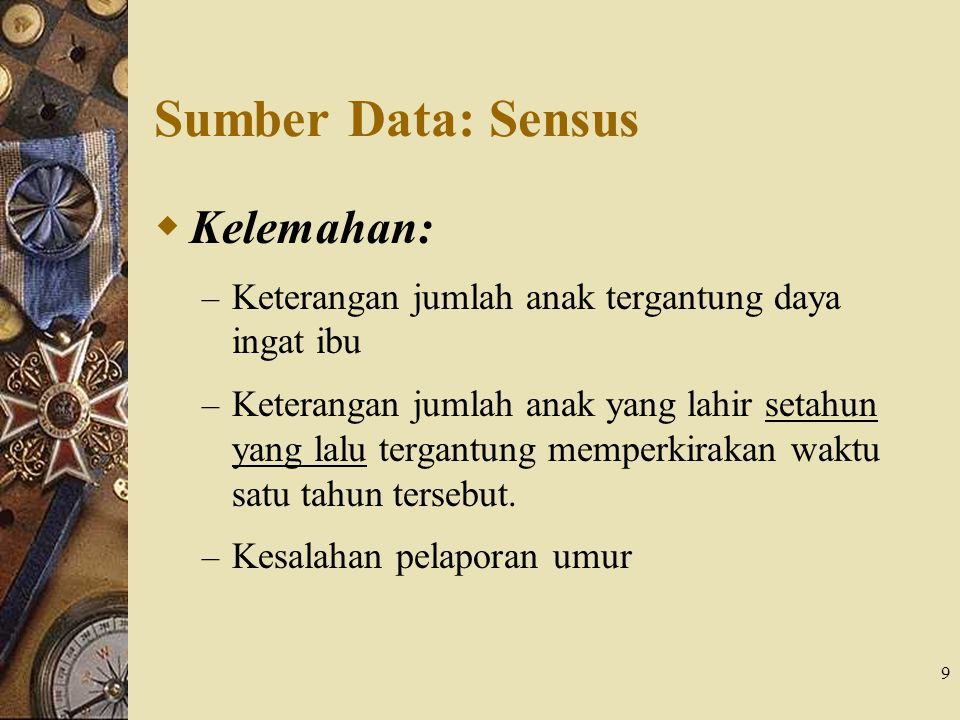 Sumber Data: Sensus Kelemahan: