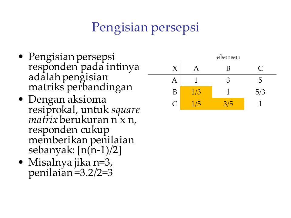 Pengisian persepsi Pengisian persepsi responden pada intinya adalah pengisian matriks perbandingan.