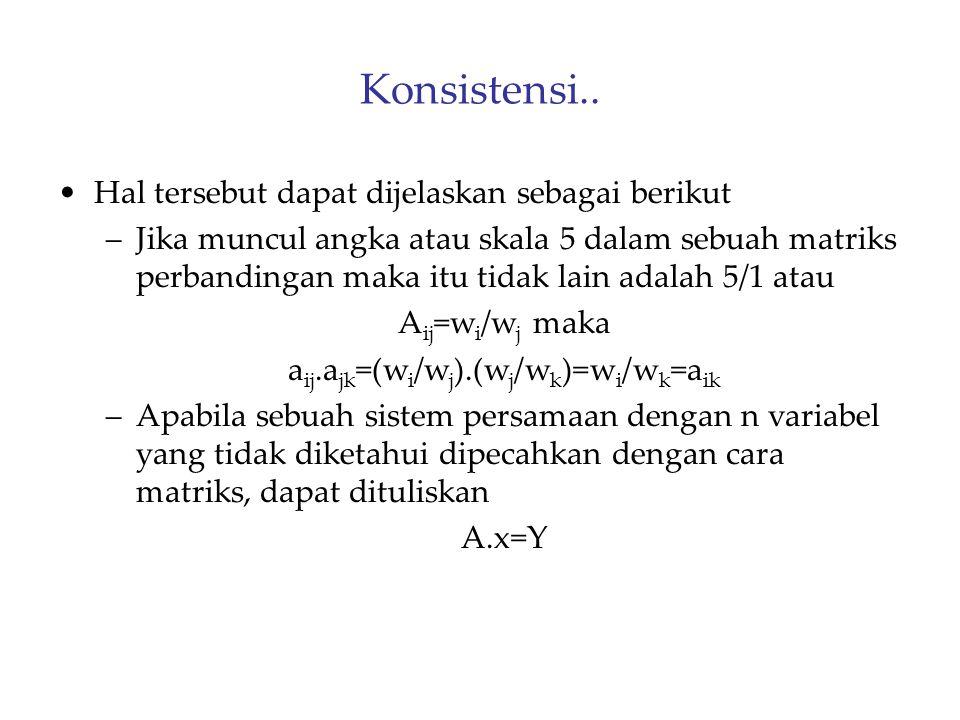 aij.ajk=(wi/wj).(wj/wk)=wi/wk=aik