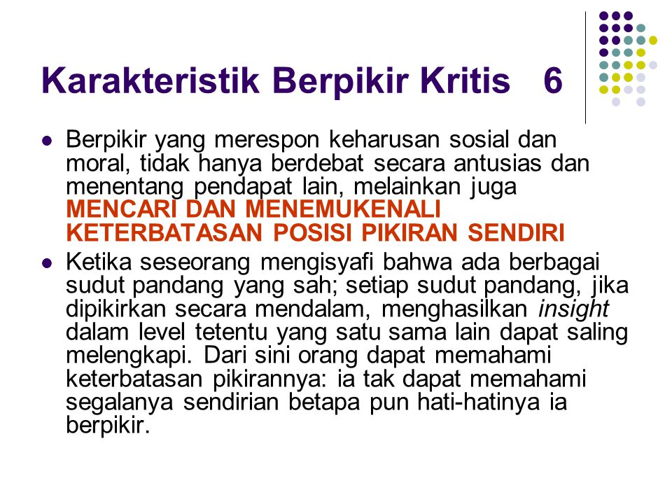 Karakteristik Berpikir Kritis 6