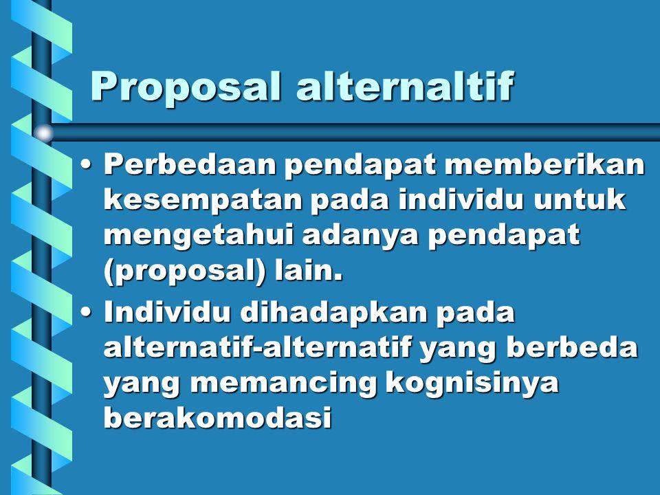 Proposal alternaltif Perbedaan pendapat memberikan kesempatan pada individu untuk mengetahui adanya pendapat (proposal) lain.