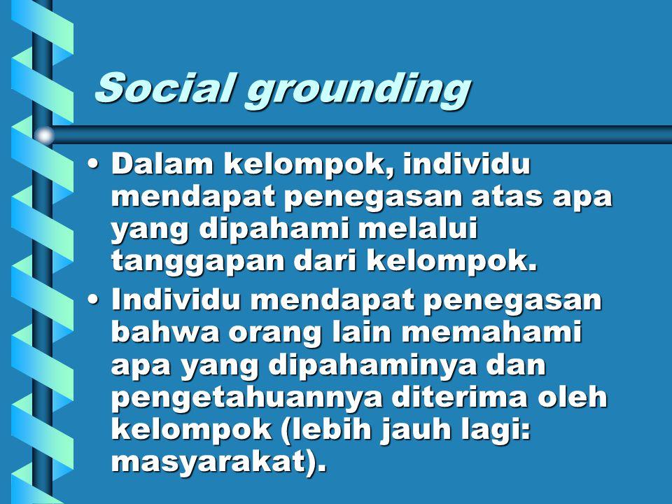 Social grounding Dalam kelompok, individu mendapat penegasan atas apa yang dipahami melalui tanggapan dari kelompok.