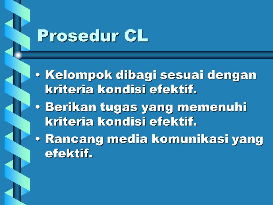 Prosedur CL Kelompok dibagi sesuai dengan kriteria kondisi efektif.