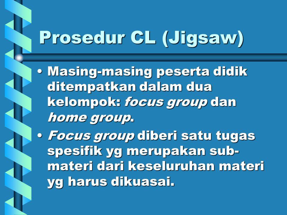Prosedur CL (Jigsaw) Masing-masing peserta didik ditempatkan dalam dua kelompok: focus group dan home group.