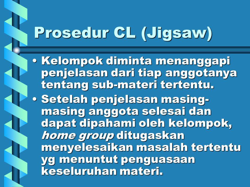 Prosedur CL (Jigsaw) Kelompok diminta menanggapi penjelasan dari tiap anggotanya tentang sub-materi tertentu.