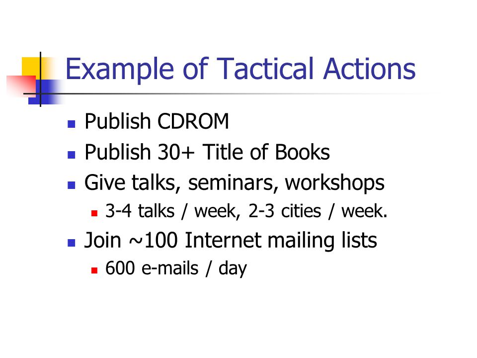 Example of Tactical Actions