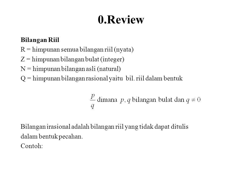 0.Review Bilangan Riil R = himpunan semua bilangan riil (nyata)