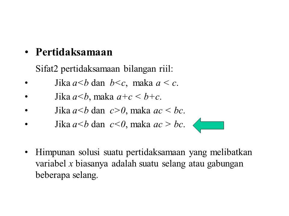 Sifat2 pertidaksamaan bilangan riil: