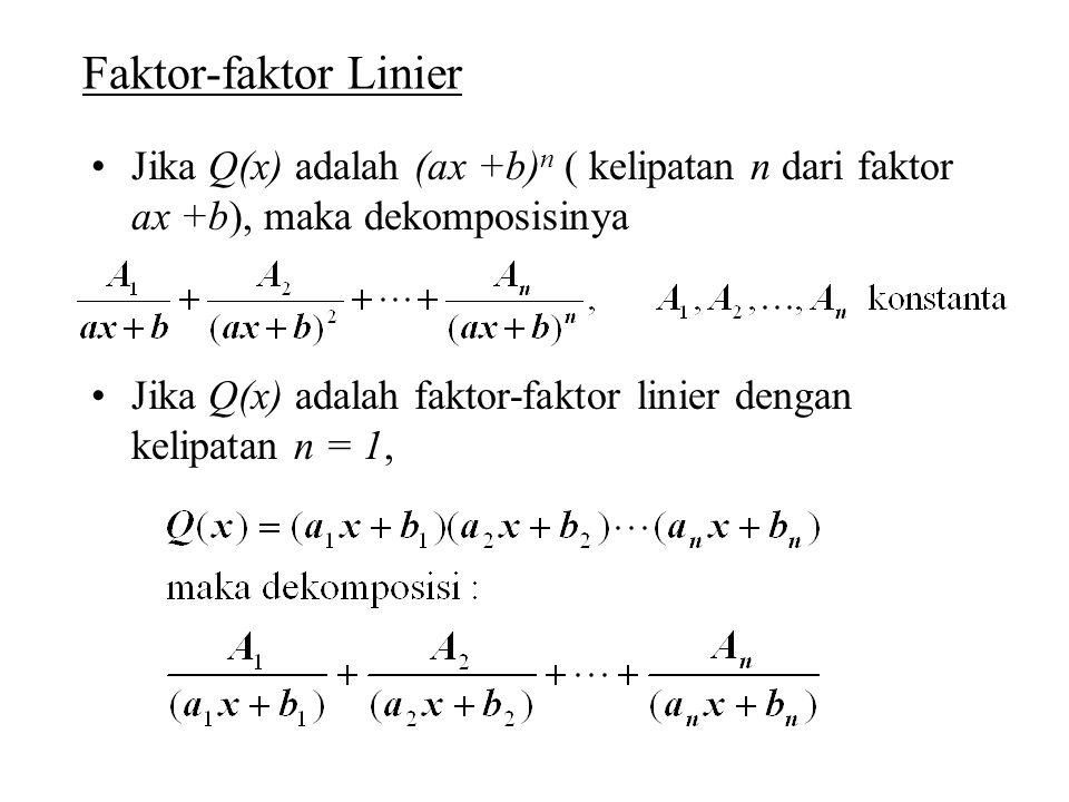 Faktor-faktor Linier Jika Q(x) adalah (ax +b)n ( kelipatan n dari faktor ax +b), maka dekomposisinya.