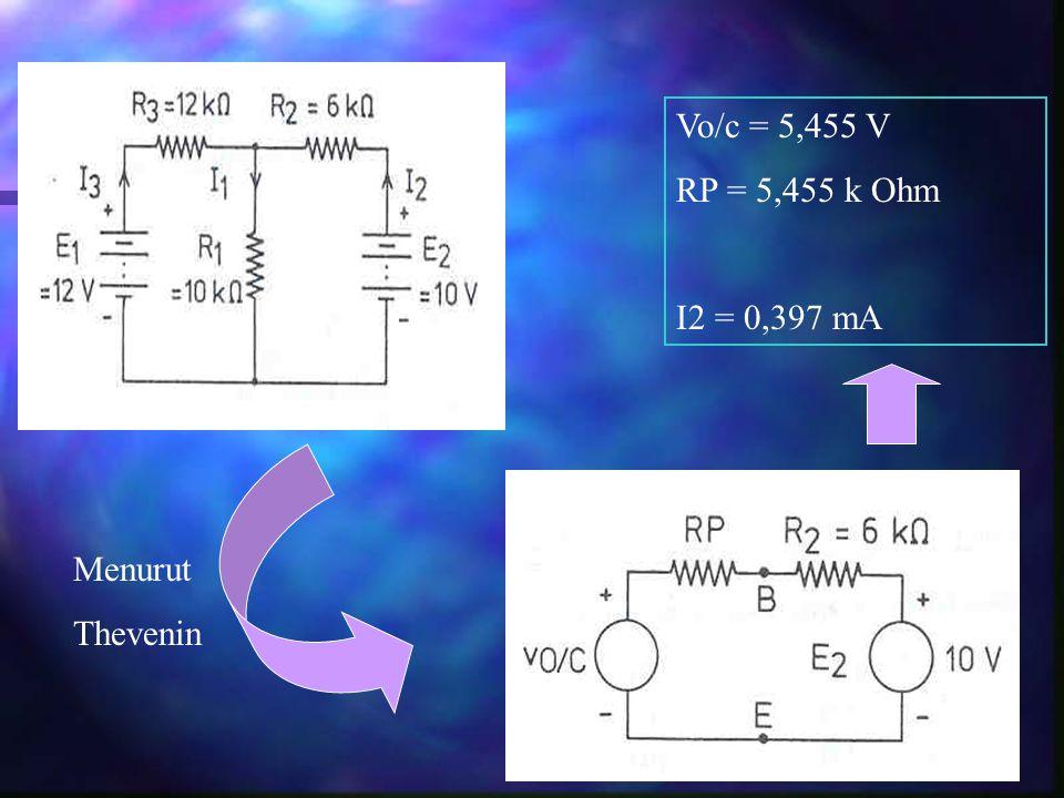 Vo/c = 5,455 V RP = 5,455 k Ohm I2 = 0,397 mA Menurut Thevenin