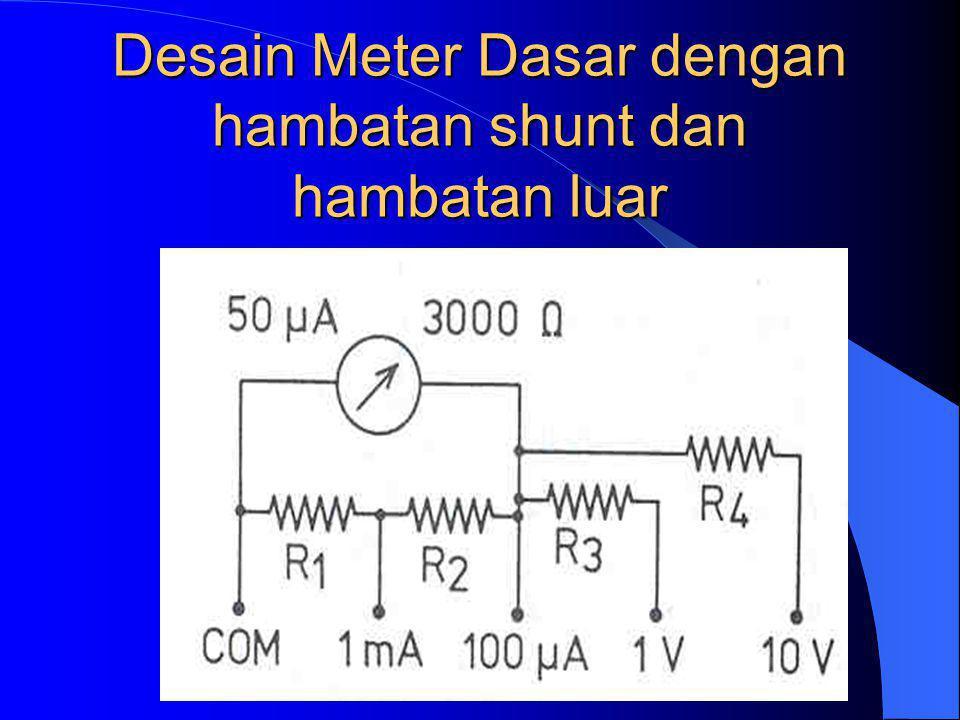 Desain Meter Dasar dengan hambatan shunt dan hambatan luar