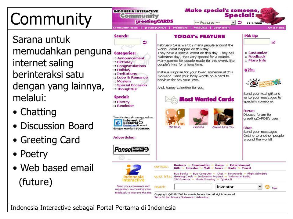 Community Sarana untuk memudahkan penguna internet saling berinteraksi satu dengan yang lainnya, melalui: