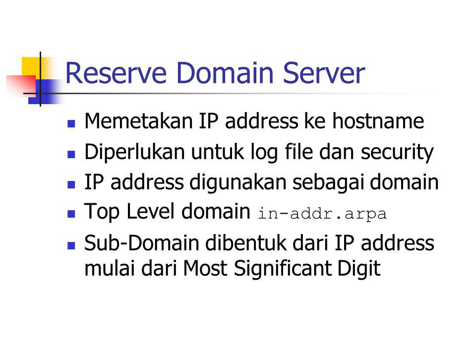Reserve Domain Server Memetakan IP address ke hostname