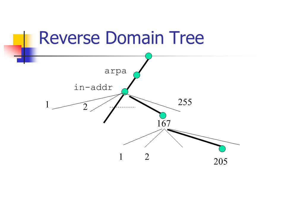 Reverse Domain Tree arpa in-addr 255 1 2 167 1 2 205
