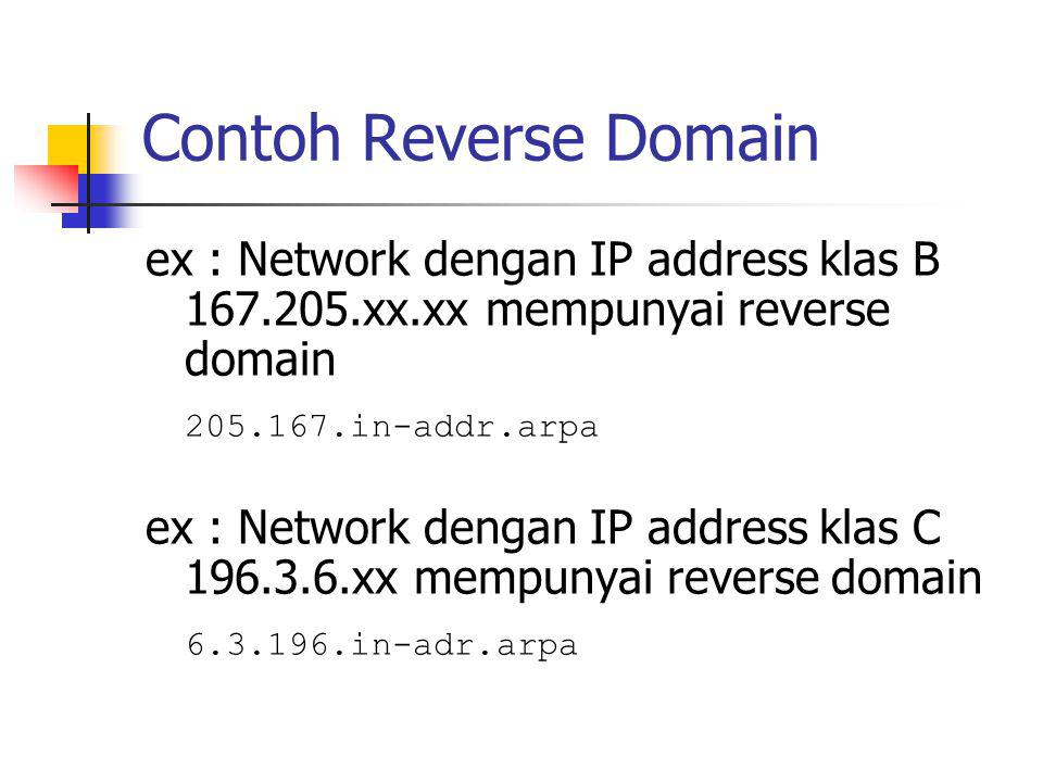 Contoh Reverse Domain ex : Network dengan IP address klas B 167.205.xx.xx mempunyai reverse domain.