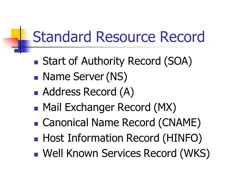 Standard Resource Record