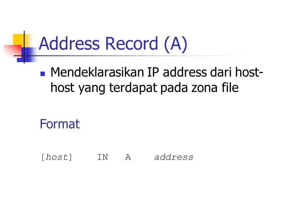Address Record (A) Mendeklarasikan IP address dari host-host yang terdapat pada zona file. Format.