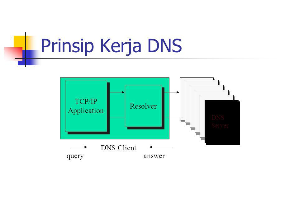 Prinsip Kerja DNS TCP/IP Application Resolver DNS Client query answer