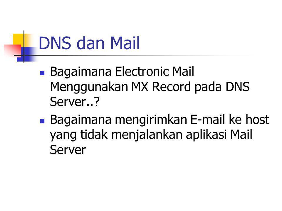 DNS dan Mail Bagaimana Electronic Mail Menggunakan MX Record pada DNS Server..